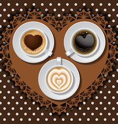 Cups of heart in coffee on polka dot pattern vector
