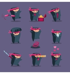 Collection of cute cartoon ninja vector
