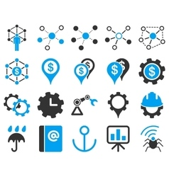 Business links and industry icon set vector