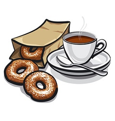 Coffee and donuts vector