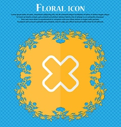 Cancel floral flat design on a blue abstract vector