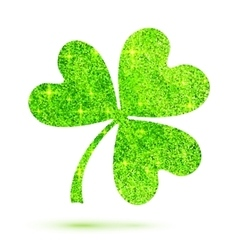 Green shining glitter glamour clover leaf on white vector