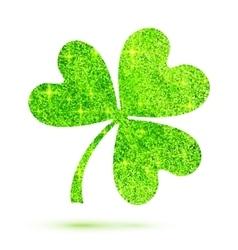 Green shining glitter glamour clover leaf on white vector image