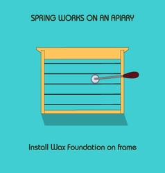 Install wax foundation on frame spring work vector