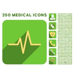 Pulse icon and medical longshadow icon set vector