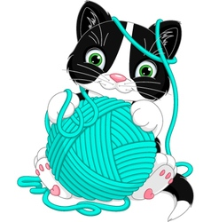 Kitten with yarn ball vector