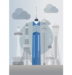 Japan fukuoka tower vector