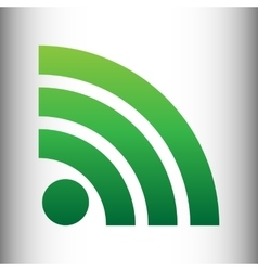 Rss sign green gradient icon vector