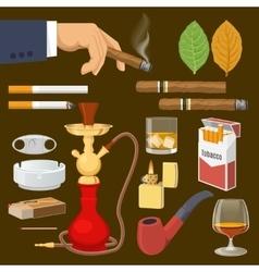 Smoking Tobacco Decorative Icons Set vector image