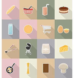 food objects flat icons 18 vector image