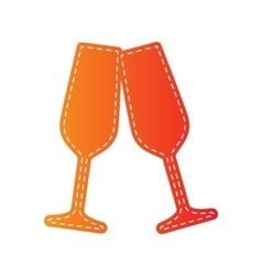 Sparkling champagne glasses orange applique vector