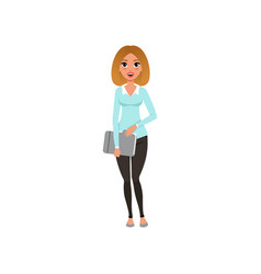 attractive businesswoman standing with paper vector image