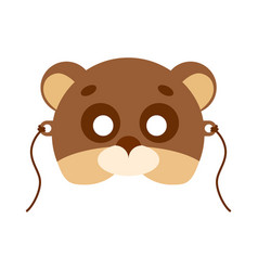 bear animal carnival mask brown and beige teddy vector image