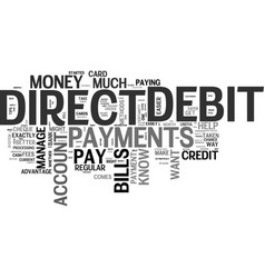 Benefits of direct debit payments text word cloud vector