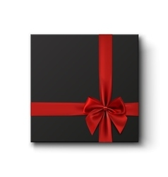 Blank black gift box with red ribbon vector