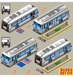 Bus set 03 vehicle isometric vector