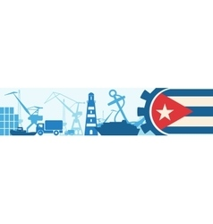 Cargo port relative icons set cuba flag in gear vector