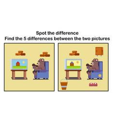 Cartoon brown bear watching tv vector