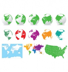colored globes and maps vector image vector image