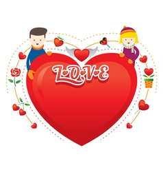Couple with Heart Shape vector image vector image