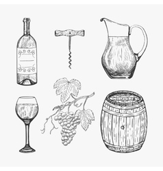 Creative sketch of wine elements vector