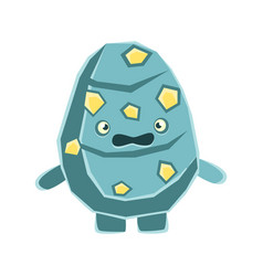 cute dissatisfied blue rock element with yellow vector image vector image