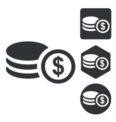 Dollar rouleau icon set monochrome vector