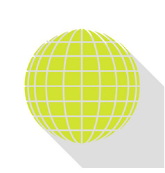 Earth globe sign pear icon with flat style shadow vector