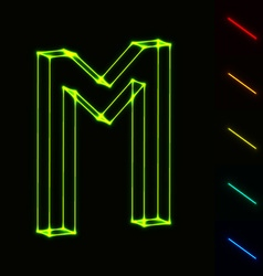 EPS10 glowing wireframe letter M - easy to change vector image vector image