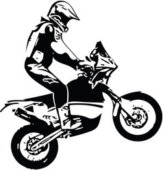 Extreme abstract motocross racer by motorcycle vector