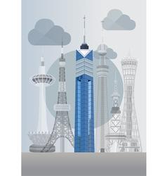 Japan fukuoka tower vector