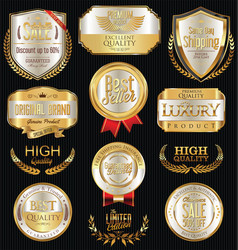 Luxury golden retro labels collection 1 vector