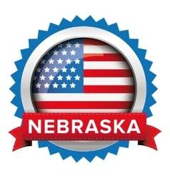 Nebraska and usa flag badge vector