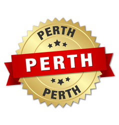 Perth round golden badge with red ribbon vector