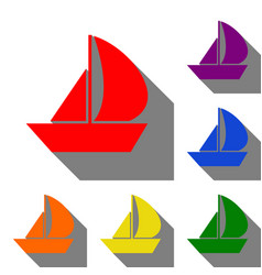 Sail boat sign set of red orange yellow green vector