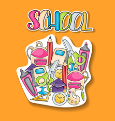 School elements clip art doodle sticker vector
