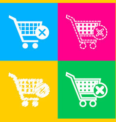 shopping cart with delete sign four styles of vector image