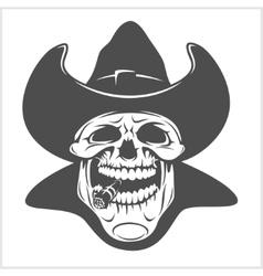 Skull in cowboy hat - gangster vector