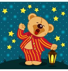 Teddy bear in pajamas yawns vector