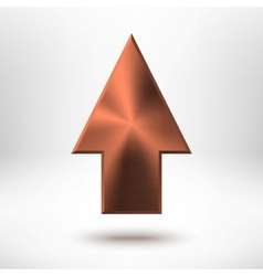 Up Arrow Sign with Bronze Metal Texture vector image