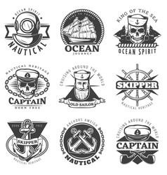 vintage sailor naval label set vector image vector image
