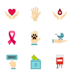 volunteer center icons set flat style vector image vector image