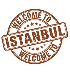Welcome to istanbul brown round vintage stamp vector