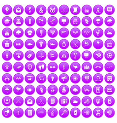 100 arrow icons set purple vector