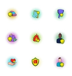 Disaster icons set pop-art style vector