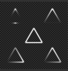 White glowing triangles collection for your design vector