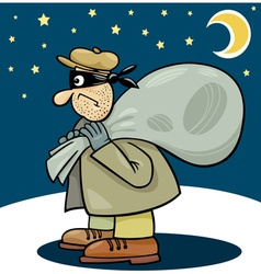 Thief with sack cartoon vector