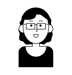 Happy woman wearing glasses cartoon icon imag vector
