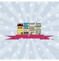 Winter holidays card with houses 2 vector