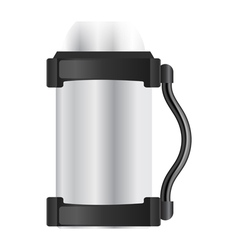 Silver thermos flask on a white background vector image